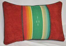 Pillow made w Ralph Lauren High Desert Serape Stripe & Rust Faux Suede Fabric