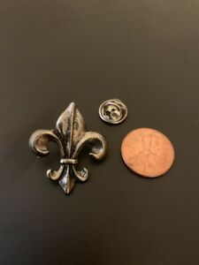 2Pewter Fleur De Lis Antiqued Pewter Lapel Pin / Tie Tack, Saints Fans , Who Dat