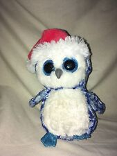 "TY Beanie Boos Icicles 6"" Plush Santa Hat Christmas Stuffed Glitter Owl Blue"