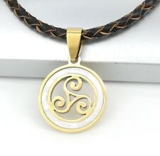 Gold Triskelion Triskele Celtic Shell Pendant 3mm Brown Braided Leather Necklace