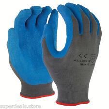 120 PAIRS Blue Premium Gray 13 Gauge Crinkle Palm Latex Work Glove - X-Large