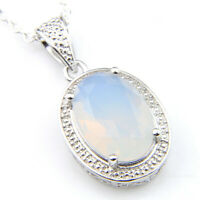 Handmade Oval Cut Rainbow Fire Moonstone Gemstone Silver Charm Necklace Pendants