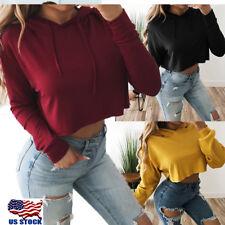 S-XL Women's Hoodie Sweatshirt Jumper Sweater Crop top Coat Sports Pullover Tops