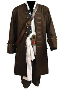 Pirates of the Caribbean Jack Sparrow Full Suit Cosplay Costume Outfit Coat Hot