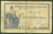NECESSITE 50 CENTIMES CHAMBRE DE COMMERCE DE NARBONNE  ETAT: TB lot 606
