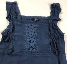 Suzanne Betro Women's Sleeveless Blouse Top 1X Plus Dark Blue Floral Boho Summer