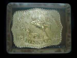 UD09175 *NOS* HESSTON 1986 NATIONAL FINALS RODEO FRED FELLOWS GOLD PLATE BUCKLE