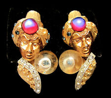"Ultra Rare Vtg 1-1/2"" Signed HAR Jeweled Fortune Teller Genie Clip Earrings A71"
