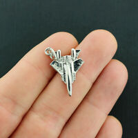 GC233 2 Fighter Jet Charms Antique Gold Tone 3D F-18