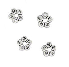 25 Large Hole Antique Silver Plated Rondelle Flower Metal Beads 12MM
