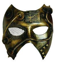Masque couleur bronze avec mécanisme d'horloge poignée et tuyau, steampunk jules