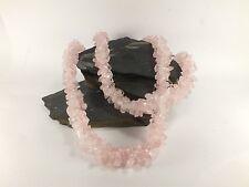 Rose Quartz Chip Bead Rope Style Necklace (EA6028M) crystal stone gem healing