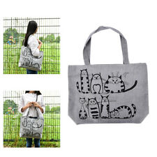 1pc Cat Shopping Tote Bag Big Canvas Handbag Shoulder Crossbody Bag Portable SEA
