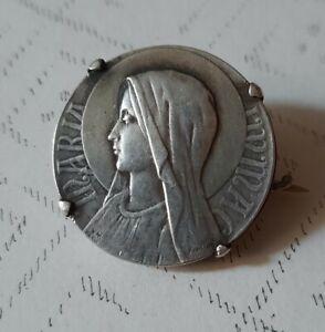 Ancienne Broche Vierge Marie Argent Antique Brooch 1900