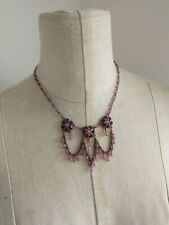 Victorian Style Necklace Beads Rhinestone Fringe Pink Brass 70a