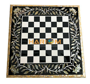 """24"""" Black Marble Chess Side Table Top Paushell Stone Inlay Floral Decors B005"""
