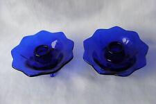 Vintage 2 Pc. Fenton Cobalt Blue Glass Lotus Flower 3 Footed Candle Holders