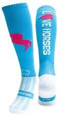 WackySox Equestrian Riding Socks - Love Horses Turquoise Blue