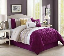 7 Pcs Bedding Royal Purple / Gold / White King Comforter Set with accent pillows