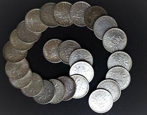 Lot de1 Franc Semeuse Argentet : 25 pièces...