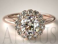 2.76ct Halo Diamond Cluster Anniversary Engagement Ring Solid 14k Rose gold