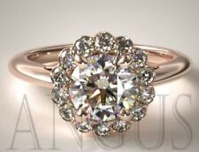 14k Solid Rose gold 2.76ct Diamond Cluster Anniversary Engagement Ring