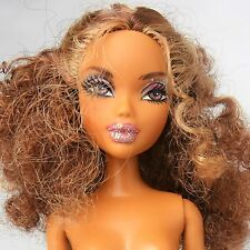 Nude My Scene African American Barbie Doll Curly Brunette hair Glitter makeup