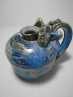 Hand Made Pottery Blue Green Jug with Dragon Handle Signed Julia Bath