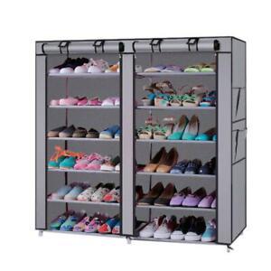 6 Tier Double Row Shoe Rack Shoe Shelf Storage Closet Organizer Cabinet w/ Cover