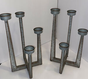 Candelabra Pair Industrial Machine Design Metal 4 Candle Spots Each Distressed