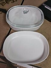 CORNING WARE FRENCH WHITE 2 1/2 & 1 1/2 QUART OVAL CASSEROLES / PYREX LID