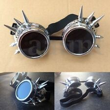Fashion Silver Steampunk Goggles Spikey Burning Man Costume Cosplay Gothic Punk