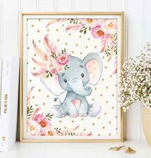 A4 Boho Baby Girl Elephant Nursery Print Pink Gold Floral Confetti UNFRAMED
