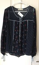 NWT Abercrombie & Fitch Women's Lace-Up Peasant Top (Size: S)