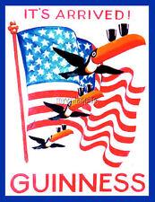 "GUINNESS BEER AMERICAN FLAG TUCANS 2"" x 3"" Fridge MAGNET VINTAGE ART Breweriana"