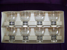 Lot of 8 Town and Country golden ring goblets water glass tumblers Federal w/box