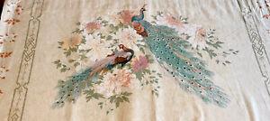 Vintage Peacock Fabric- Acorn Base - Two Peacocks- 115x56cm