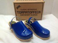 TORPATOFFELN Orthopedic Swedish Clogs Kids Navy Patent Shoes 33 US sz 1.5