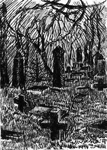 Graveyard Forest Tree Branches Night Gothic Ink Drawing - ACEO Print 2 of 10