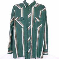 Wrangler Men's Pearl Snap Shirt 2XLT Western Green Red Striped Long Sleeve