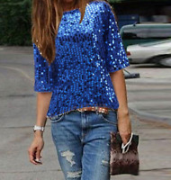 Women Crew Neck Sequined Casual Glitter Summer Sexy Sparkle Blouse T-shirt Tops