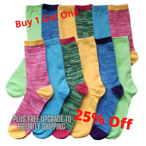 12 Pairs Women's Marled Socks Cotton Crew Ladies Assorted Colors Size 9-11