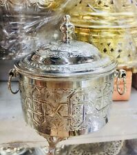 Moroccan Handmade Silver Plated Candy Dish Bowl With A Cover
