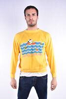 VINTAGE Snoopy Sweatshirt Felpa In Cotone Con Stampa Frontale TG L Uomo Man