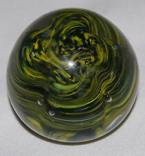 """Vintage Yellow Green Swirl Glass Paperweight Ball 3"""" India Paper Weight"""