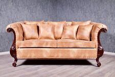 Chesterfield Sofa Couch Massiv Antik Kolonial braun Stil Polstermöbel Vintage
