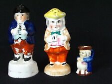 2 ANTIQUE STAFFORDSHIRE TOBY SHAKERS FROM THE 1880'S AND SMALL JUG