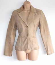 Beige 100% Echtleder Vivian Caron Fitted Riding Coat Jacke Größe UK 10 UK 12