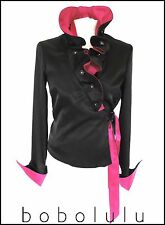 QUIRKY BLACK & PINK RUFFLE BLOUSE TOP • DRAMATIC HIGH COLLAR STEAMPUNK POET 8-10