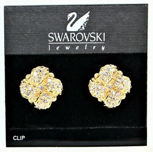 """Signed Swarovski Gold Tone Cluster Huggie Crystal Clip On Earrings 7/8"""" Inches"""